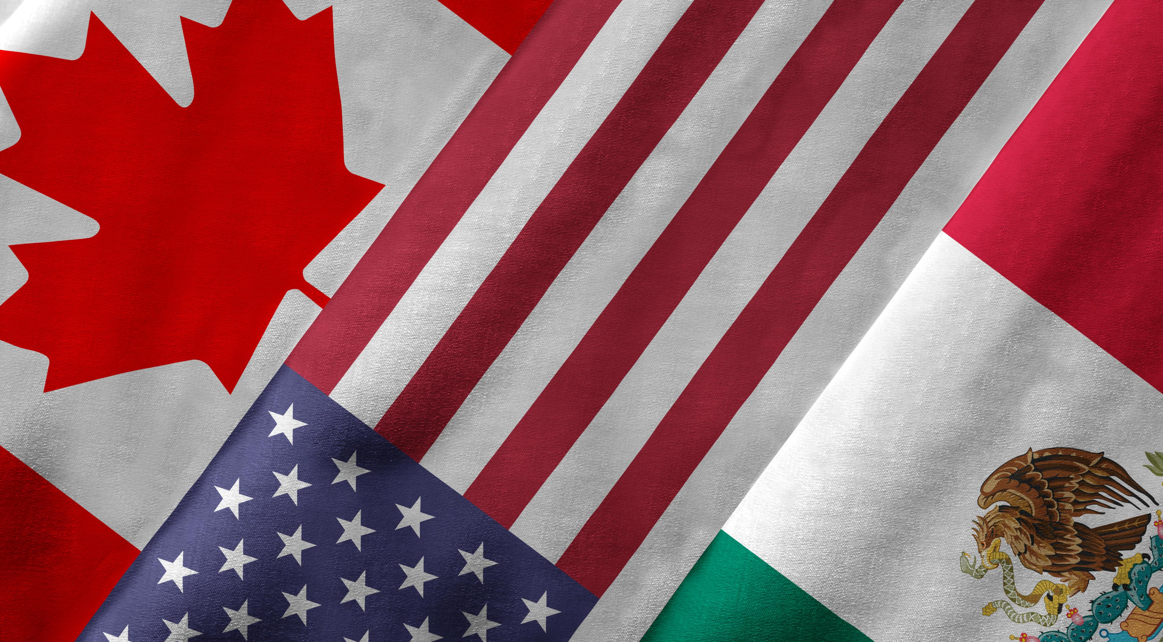 American and Canadian flags.